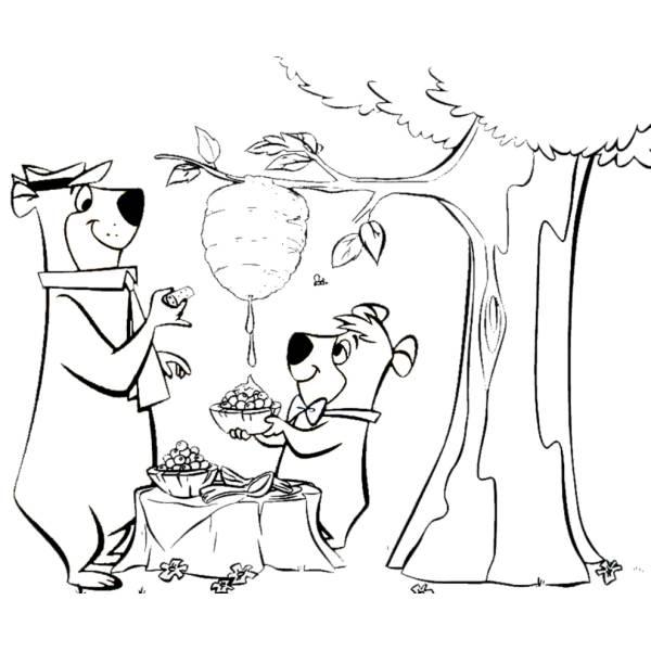 Disegno di Yoghi e Bubu da colorare