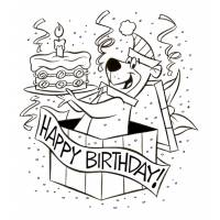Disegno di Yoghi Happy Birthday da colorare