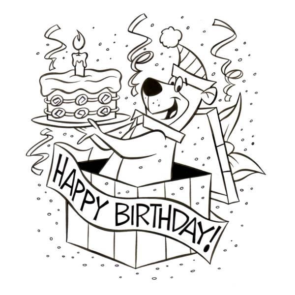 Disegni Da Colorare Per Compleanno Bambina.Disegno Di Yoghi Happy Birthday Da Colorare Per Bambini
