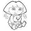 Disegno di Dora con Orsetto da colorare