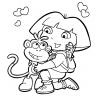 Disegno di Dora con la Scimmietta da colorare