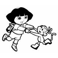 Disegno di Dora e Boots da colorare