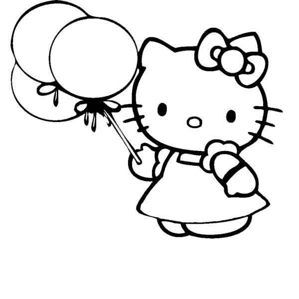 Disegno Di Hello Kitty Con Palloncini Da Colorare Per Bambini