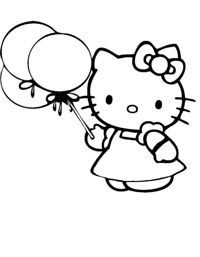 Disegno di hello kitty con palloncini da colorare per