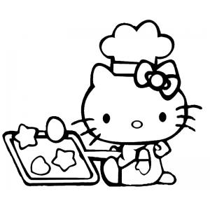 Disegno di hello kitty in cucina da colorare per bambini for Disegni da colorare hello kitty
