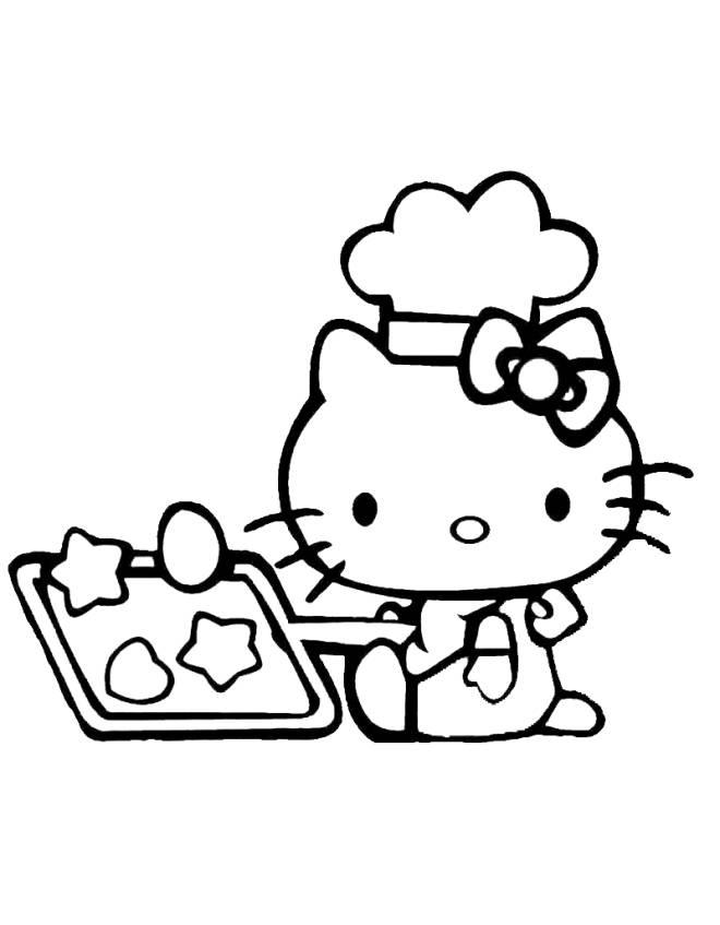 Stampa disegno di hello kitty in cucina da colorare for Disegni da colorare cucina