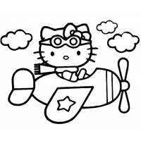 Disegno di Hello Kitty Pilota da colorare