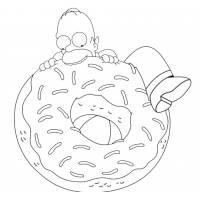 Disegno di Homer e la Ciambella da colorare