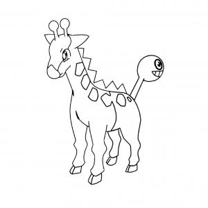 Disegno di Pokemon Girafarig da colorare per bambini