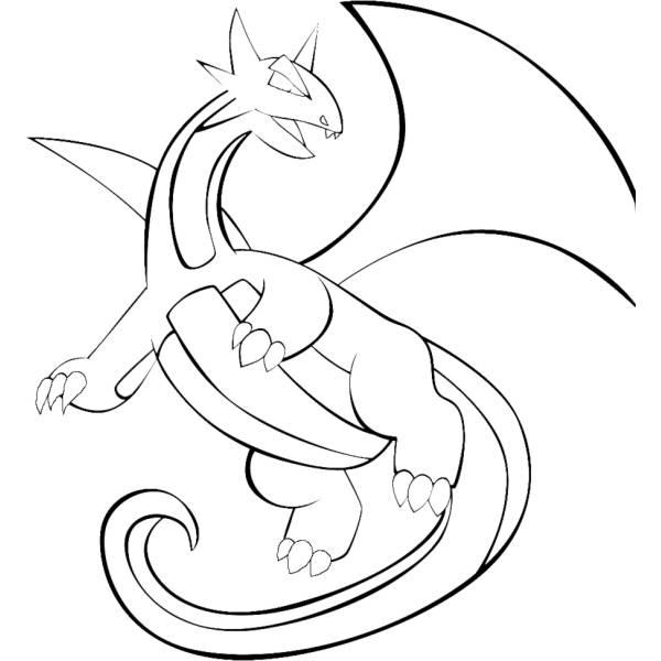 Disegno di pokemon salamence da colorare per bambini for Pokemon da stampare e colorare