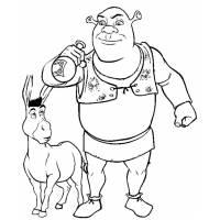 Disegno di Shrek e Asino Ciuchino da colorare