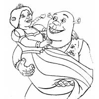 Disegno di Shrek e Fiona da colorare