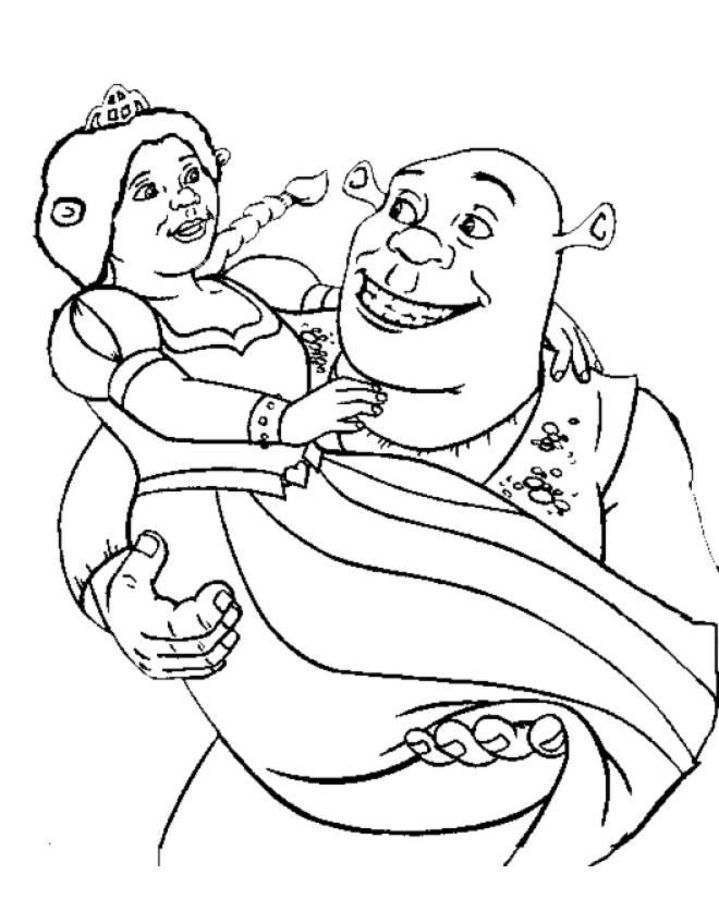 Stampa Disegno Di Shrek E Fiona Da Colorare