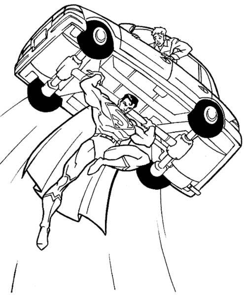 Disegno Di Superman Con L Auto Da Colorare Per Bambini