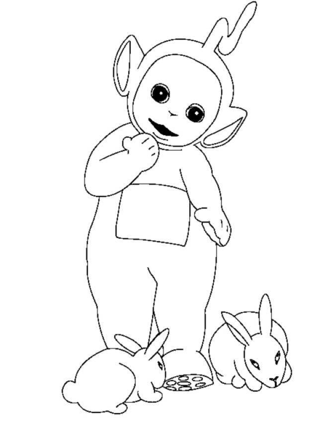 Disegno di teletubbies e coniglietti da colorare per