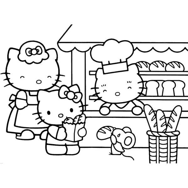 Disegno di Hello Kitty Family da colorare