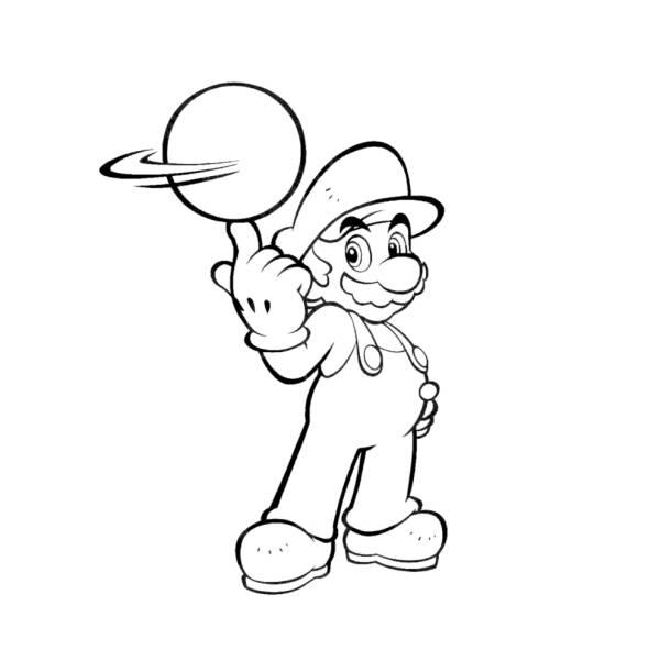 Disegno di mario bros con la palla da colorare per bambini for Disegni da colorare super mario bros