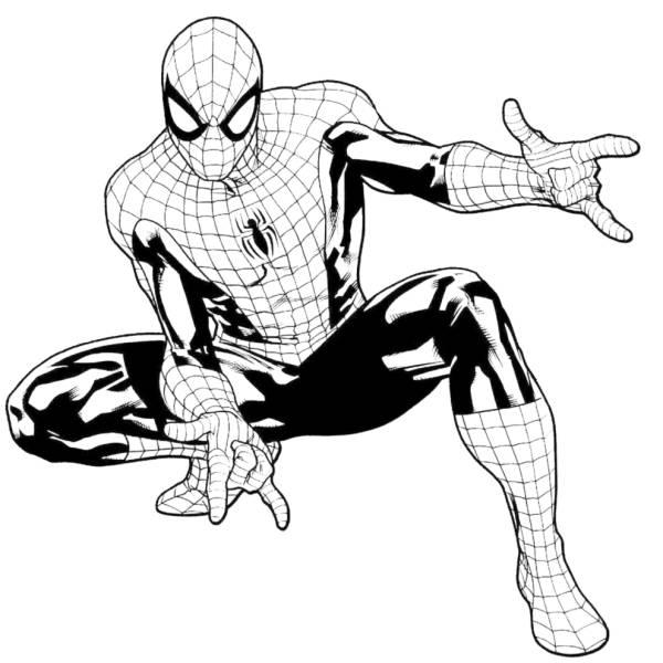 Disegno di l uomo ragno da colorare per bambini