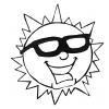 disegno di Il Sole con gli Occhiali da colorare