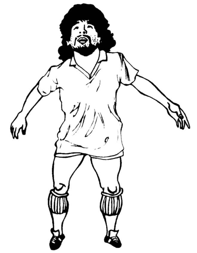 Disegno di diego armando maradona da colorare per bambini for Disegni da colorare calcio