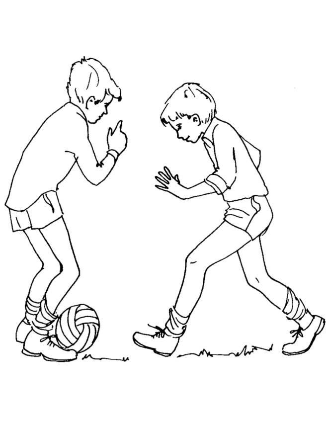 Disegno di giocare a calcio da colorare per bambini for Disegni da colorare calcio