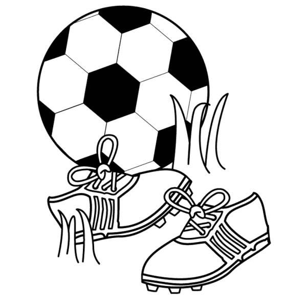 Disegno Di Pallone E Scarpette Da Calcio Da Colorare Per Bambini