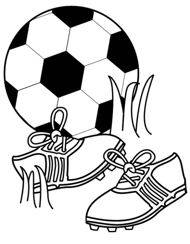 Disegno di pallone e scarpette da calcio da colorare per for Calciatori da colorare per bambini