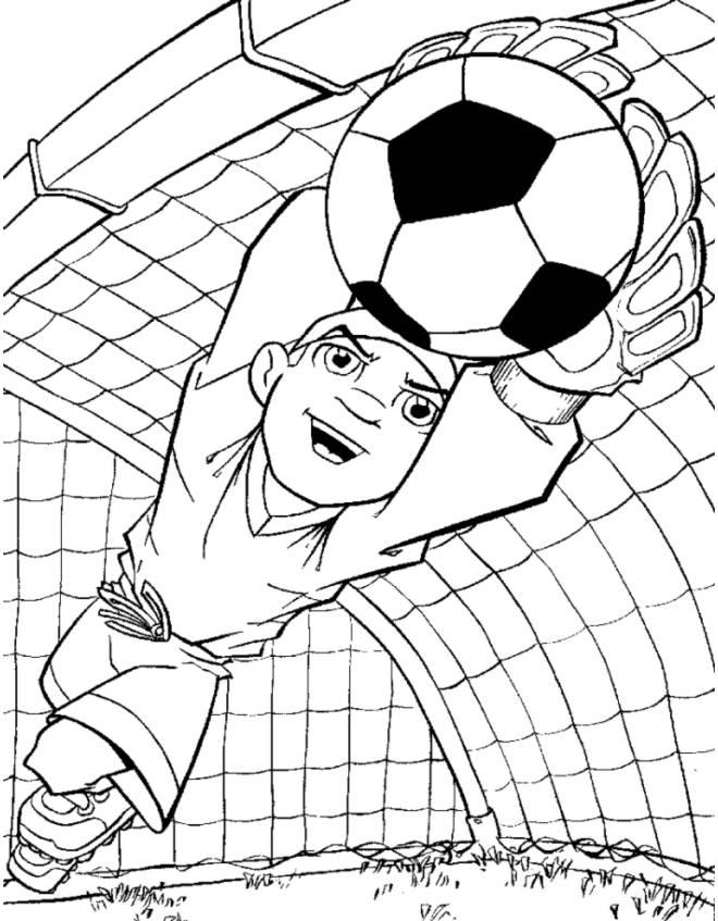 Disegno di portiere di calcio da colorare per bambini - Immagini sportive da stampare ...