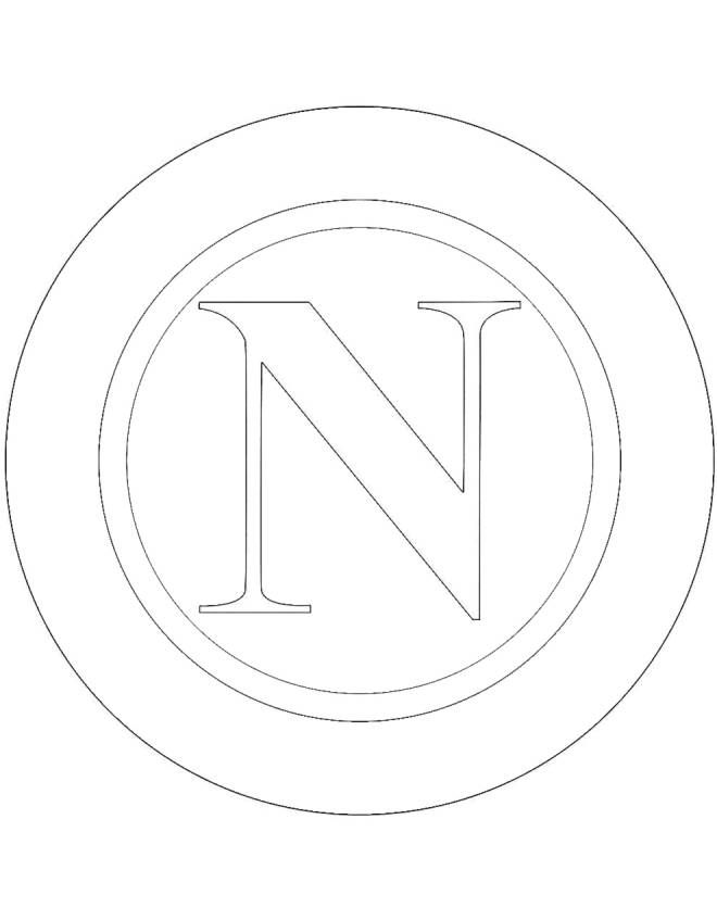 Disegno di stemma del napoli da colorare per bambini for Calciatori da colorare per bambini