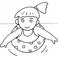 disegno di Bambina con Salvagente da colorare