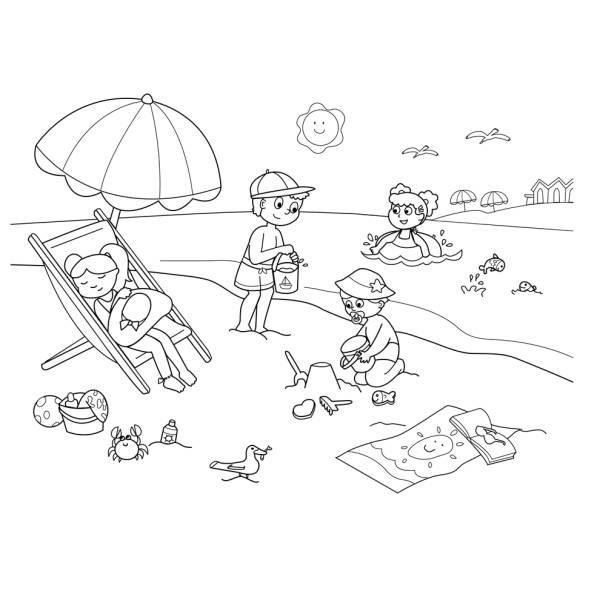 Disegno di spiaggia sole e mare da colorare per bambini for Disegni moderni della casa sulla spiaggia