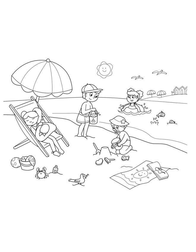 Stampa disegno di spiaggia sole e mare da colorare for Disegni di mare da colorare