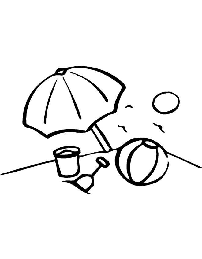 Disegno di spiaggia da colorare per bambini for Giochi da disegnare e colorare