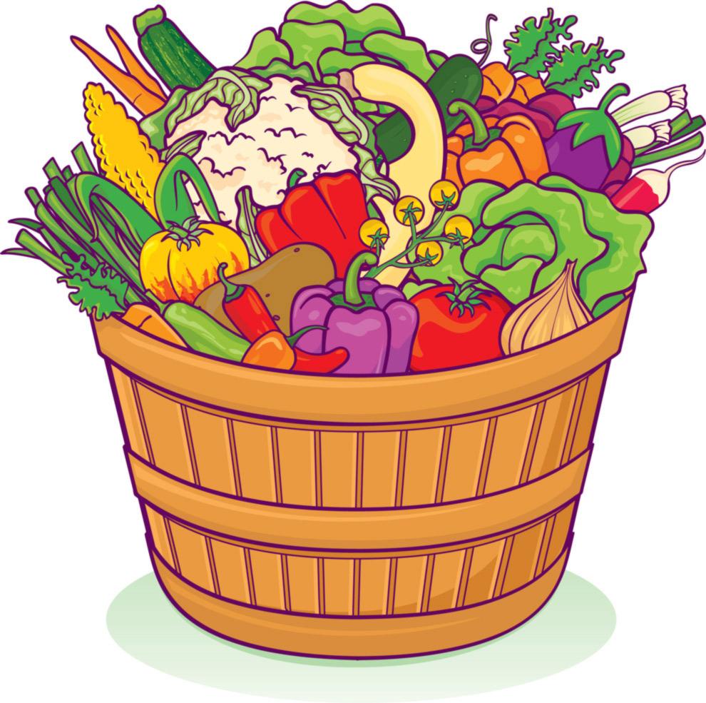 Stampa disegno di cesto di ortaggi e verdure a colori - Colorare le pagine di verdure ...
