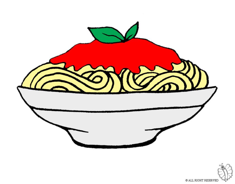 Stampa disegno di Piatto di Spaghetti a colori
