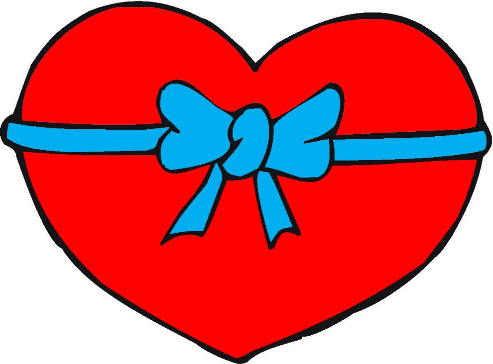 Stampa disegno di cuore con fiocco a colori for Disegni di cuori da stampare gratis
