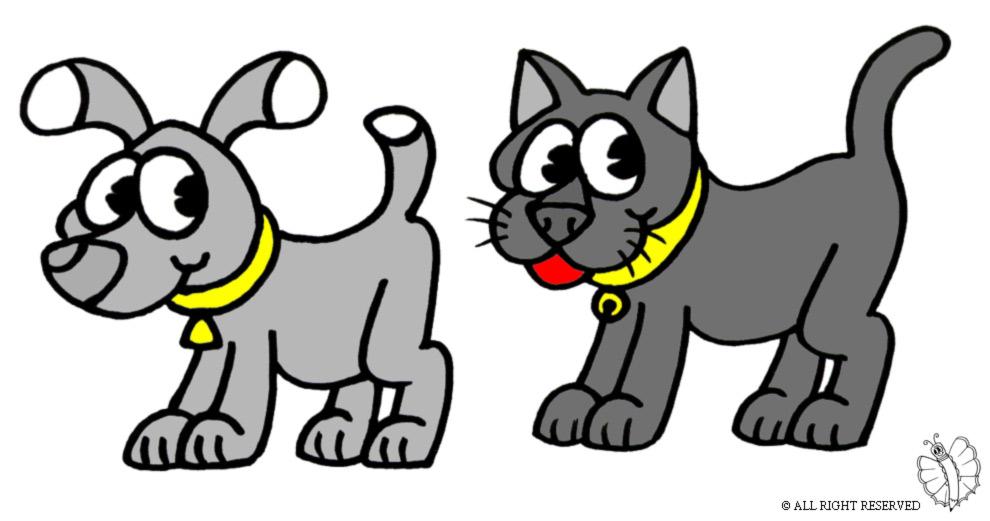 Stampa disegno di cane e gatto a colori for Cane da disegnare per bambini