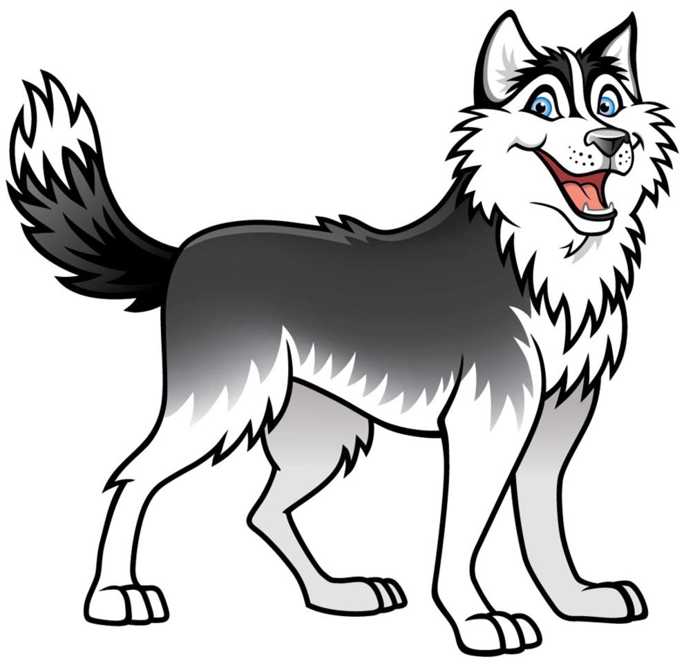 Stampa disegno di cane husky a colori for Cane da disegnare per bambini