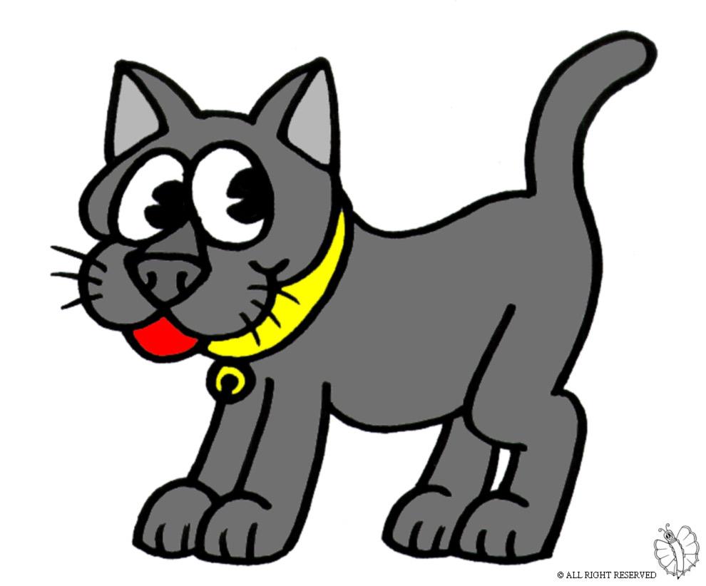 Stampa disegno di gatto con collare a colori for Gatto da colorare per bambini