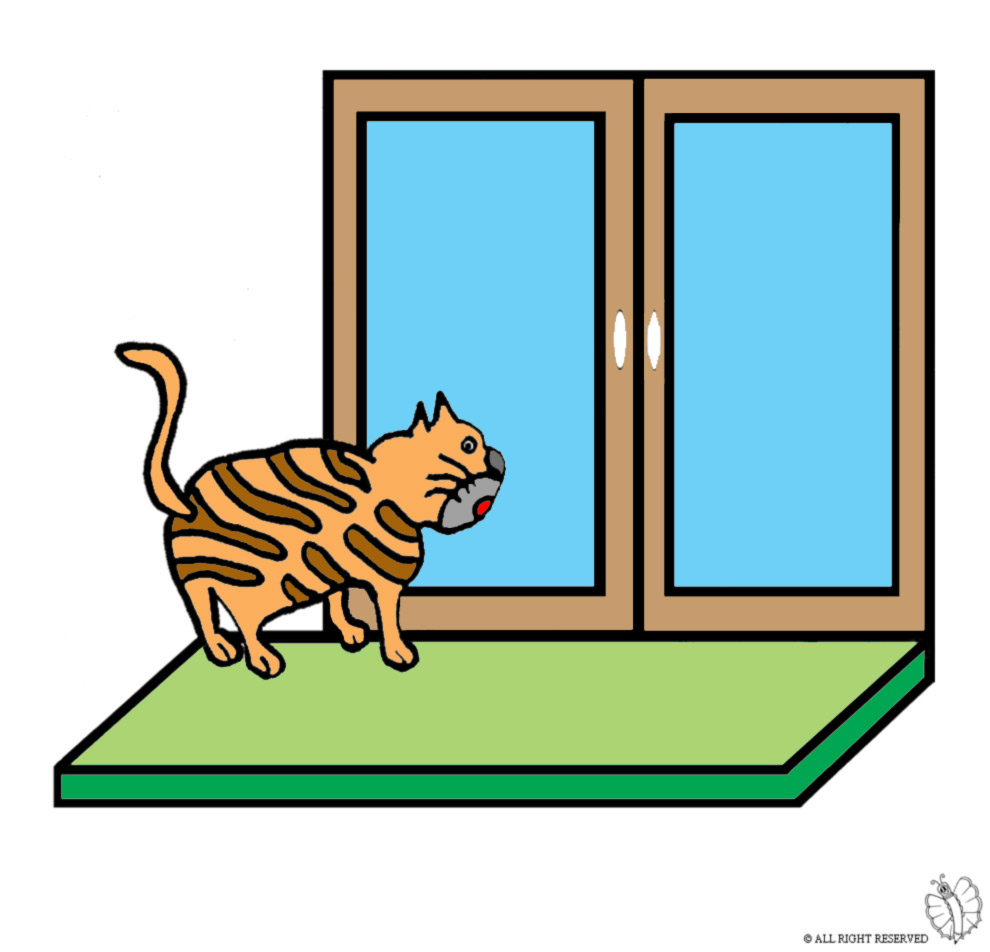 Stampa disegno di gatto sulla finestra a colori for Finestra rinascimentale disegno