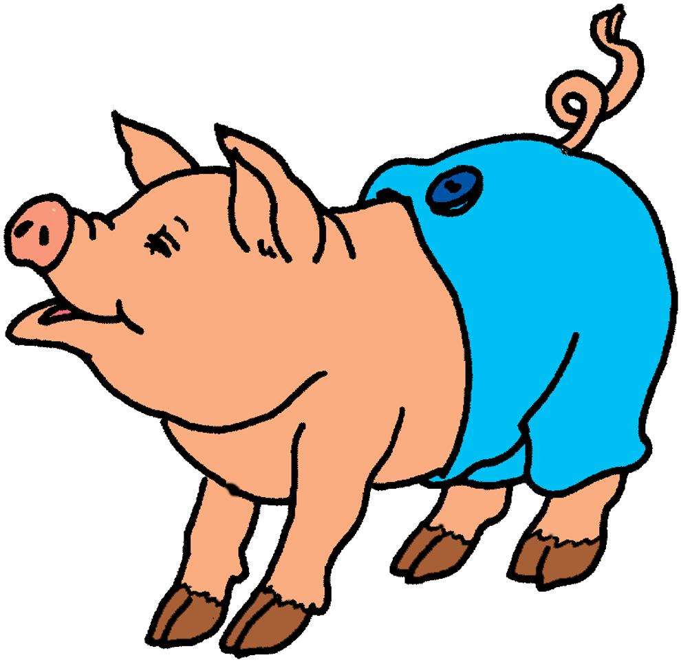 Stampa disegno di maiale con pantaloni a colori for Maialino disegno per bambini