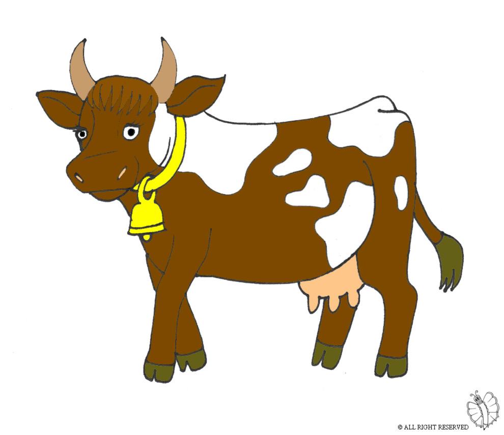 Stampa disegno di mucca con campana a colori for Disegno cavallo per bambini