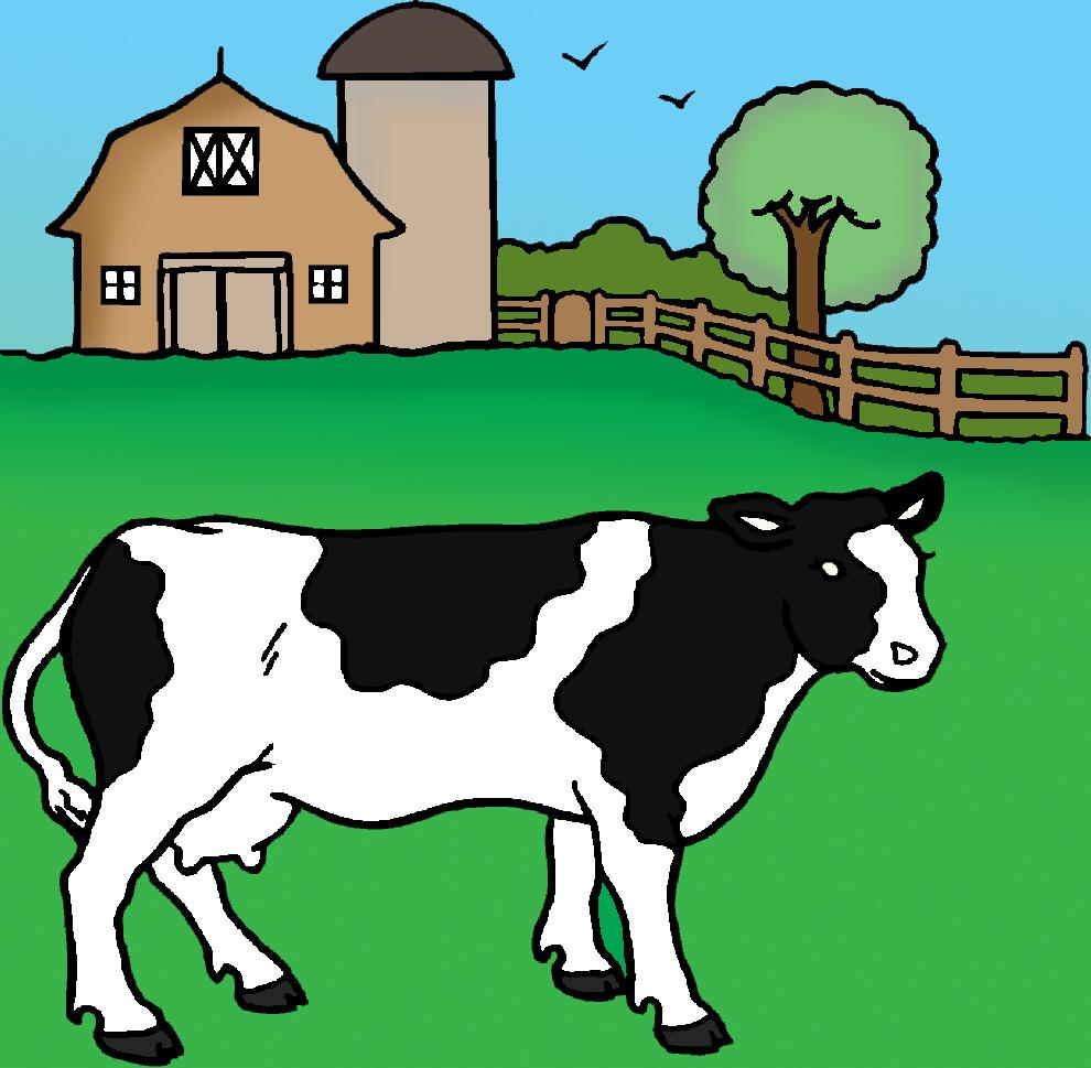 Stampa disegno di mucca della fattoria a colori for Disegno della fattoria americana