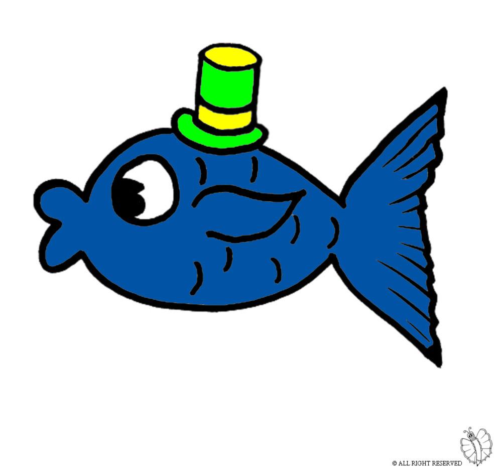disegno di Pesce con Cappello a colori