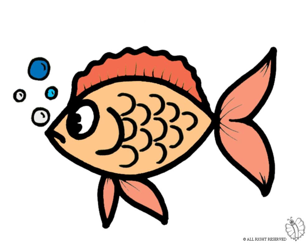 Stampa disegno di pesciolino con le bollicine a colori for Pesciolino da colorare