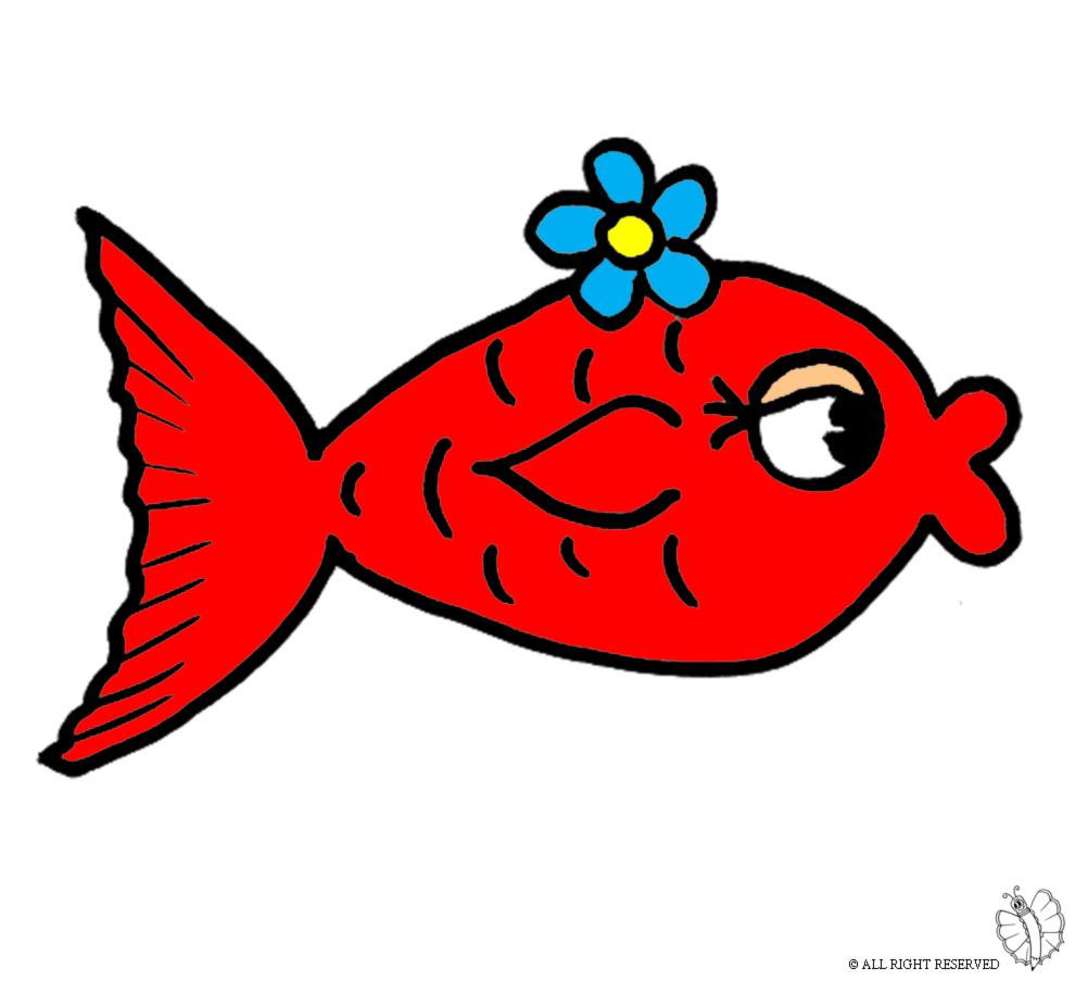 Stampa disegno di pesciolino rosso a colori for Pesciolini da colorare per bambini