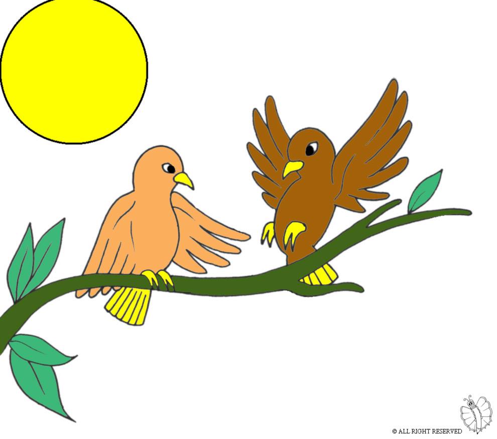 Stampa disegno di uccelli sull 39 albero a colori - Semplici disegni di uccelli ...