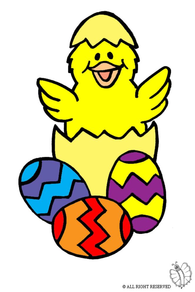 disegno di Uova di Pasqua con Pulcino a colori
