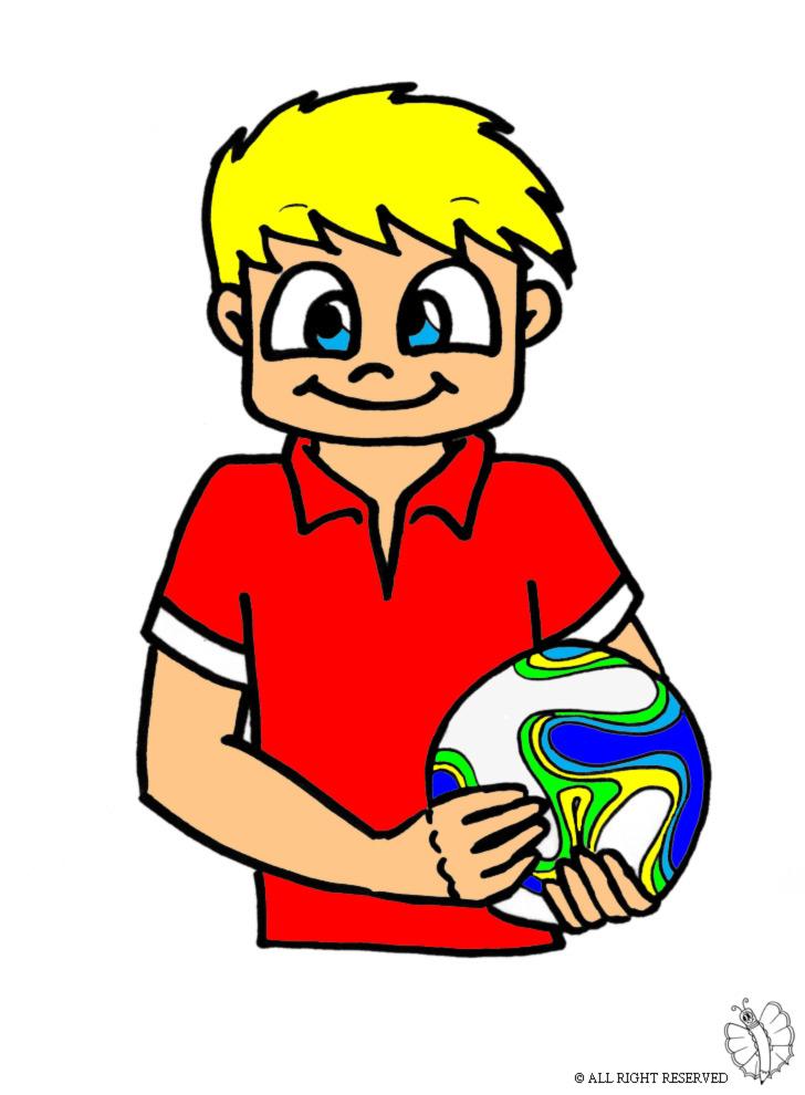 Stampa disegno di Bambino con Pallone a colori