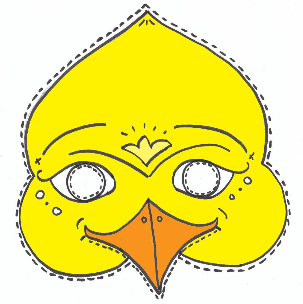 Stampa disegno di maschera di uccello a colori for Uccellino disegno
